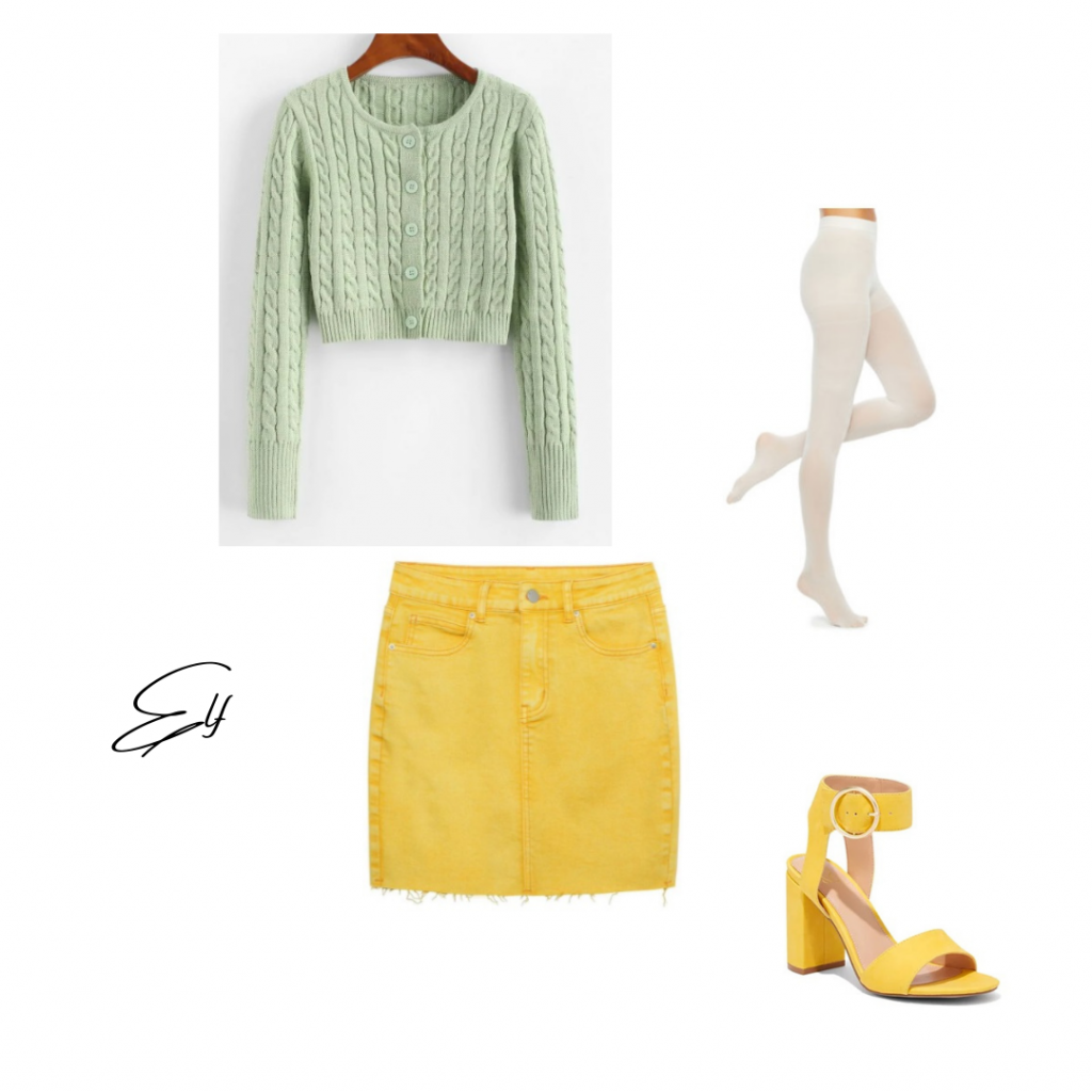 Christmas Movie Outfit based on Elf: green sweater yellow denim skirt white opaque tights and yellow heels