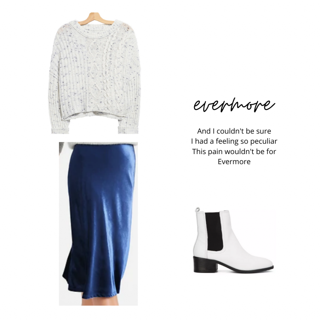Outfit inspired by Taylor Swift's evermore: Blue midi skirt, cropped sweater, white ankle boots
