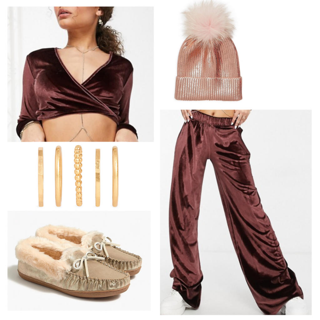 New years eve outfits: Casual look for staying at home with velvet sweatpants and crop top, gold rings, fuzzy slippers, beanie hat