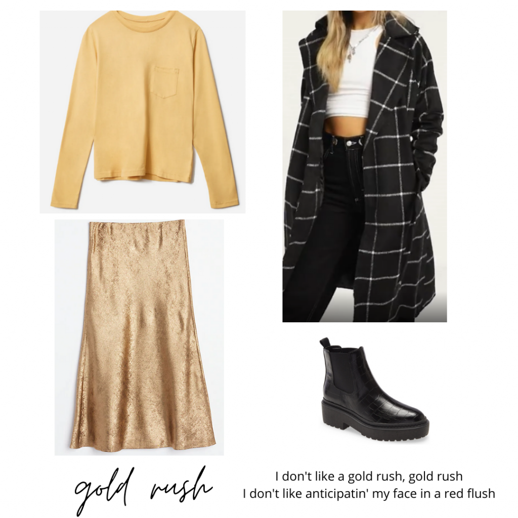 Taylor Swift evermore fashion guide: Gold skirt, yellow top, plaid coat, black chunky boots