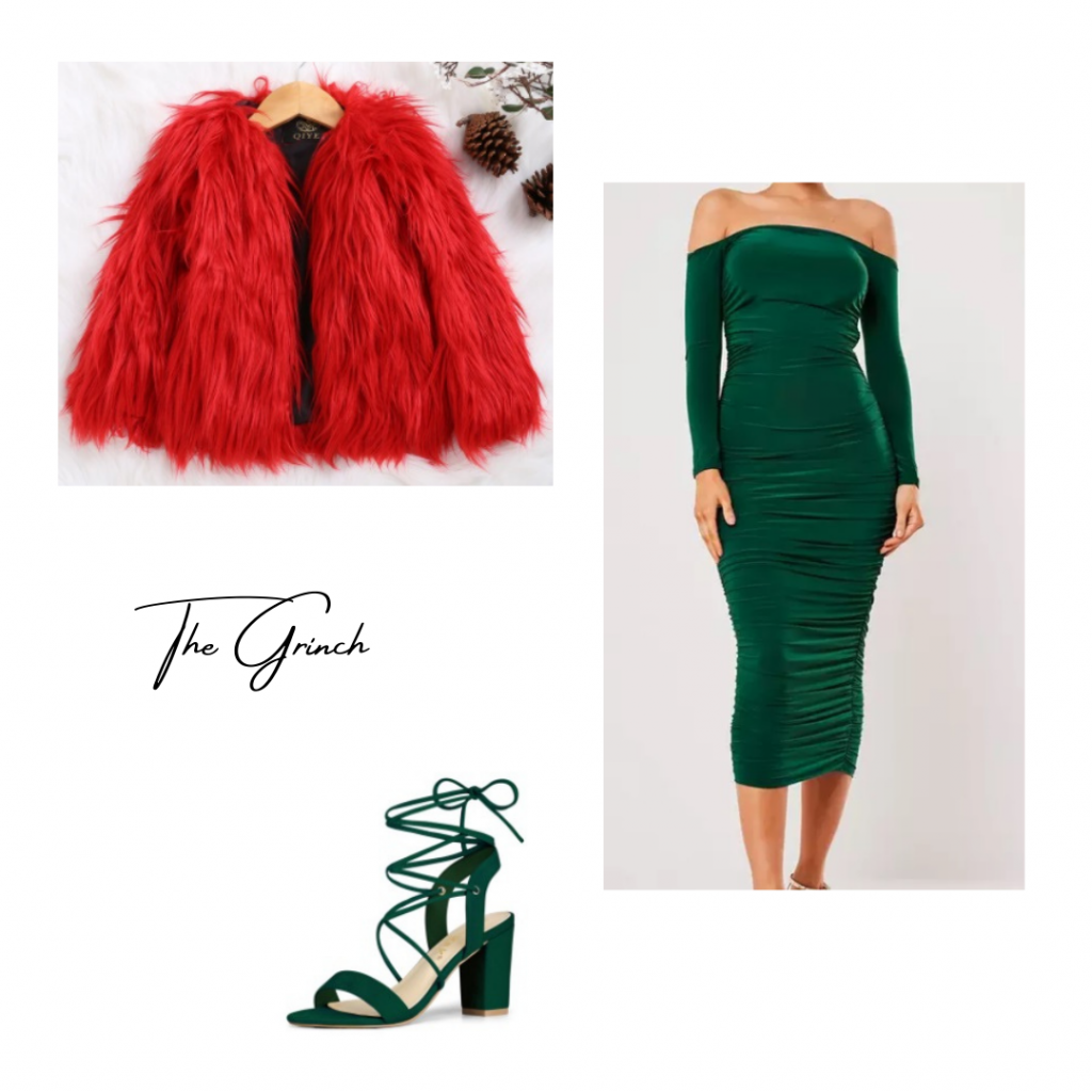 Look based on The Grinch: green bodycon dress with fuzzy red coat and green strappy heels