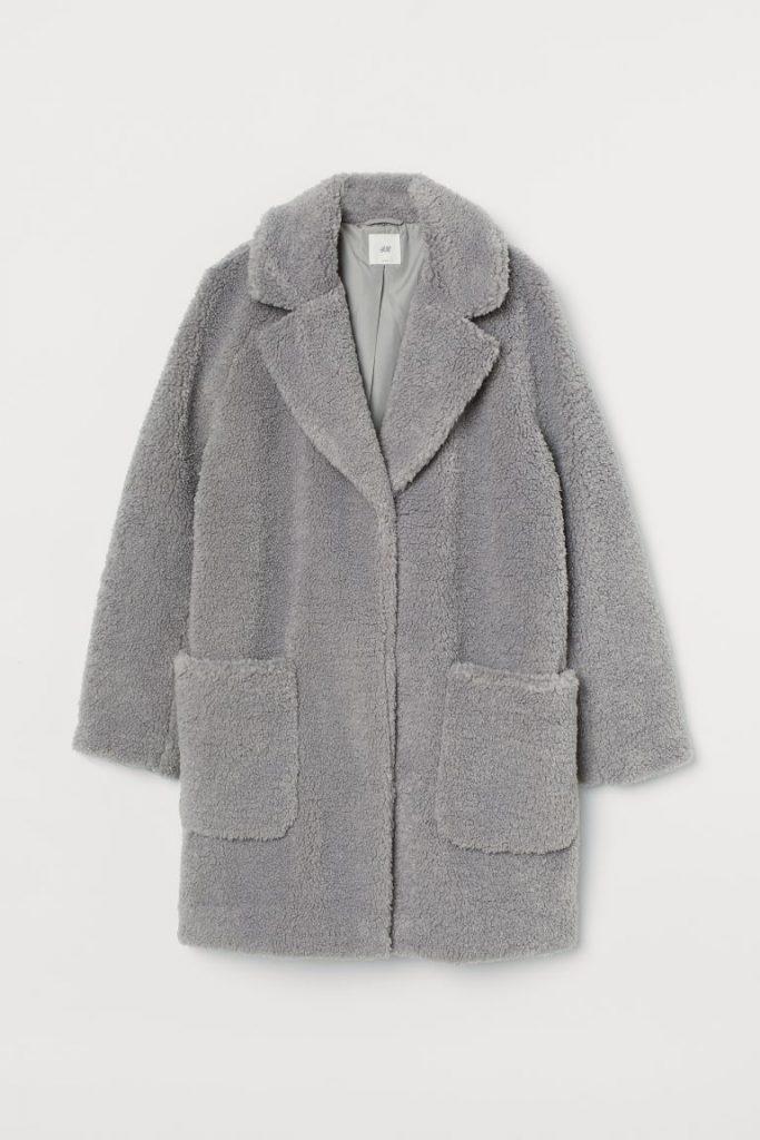 oversized fuzzy grey coat