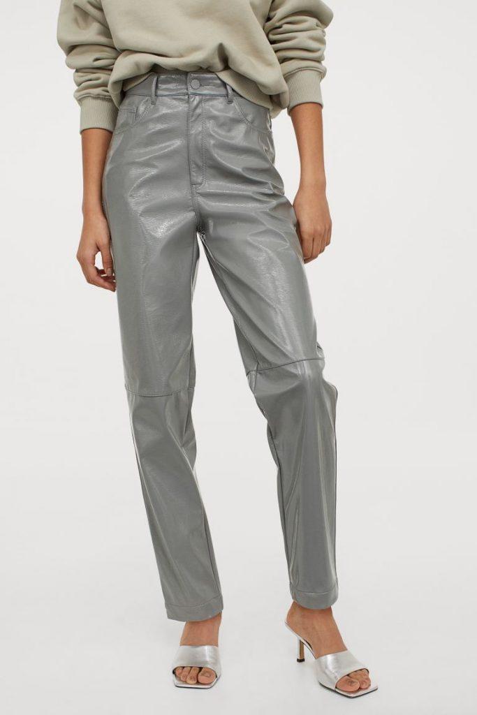 grey faux leather pants