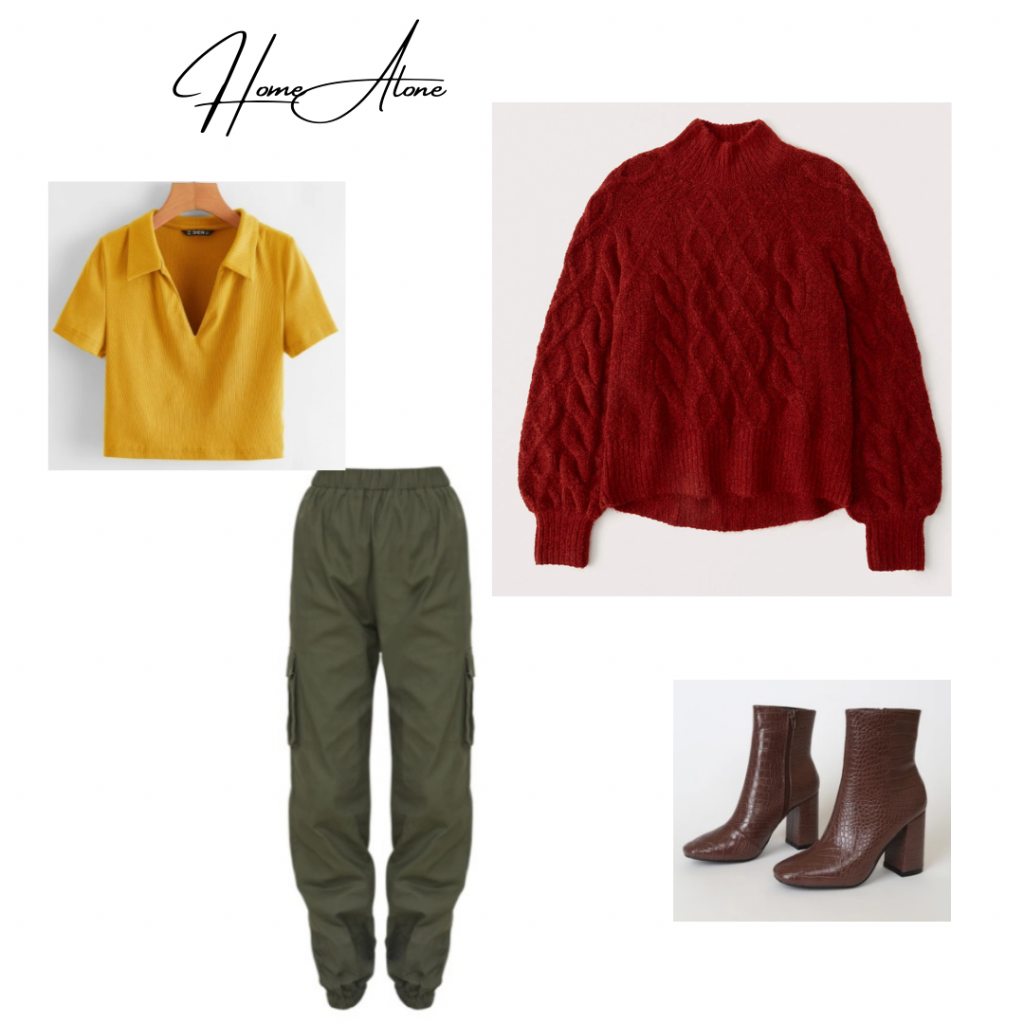 Christmas Movie Outfit based on Kevin McCallister from Home Alone: red sweater, green cargo pants, yellow cropped polo and crocodile boots