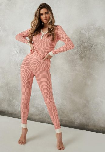 Missguided Red Striped Top and Joggers Pajama Set