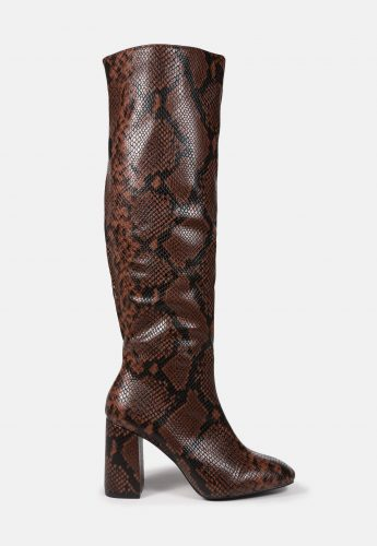 Missguided Brown Snake Knee High Boots