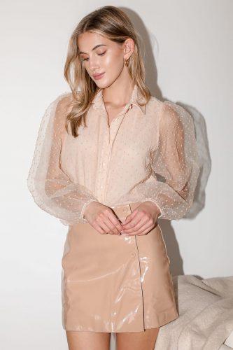 Lulu's She's So Sleek Blush Patent Vegan Leather Faux Wrap Mini Skirt