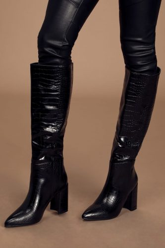 Lulu's Black Croc Pointed Toe Knee High Boots