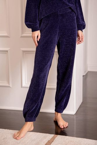 Lulu's Weekend Chiller Navy Blue Chenille Knit Lounge Joggers