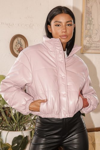 Lulu's Vegan Leather Cropped Puffer Jacket