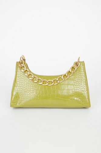 Lulu's Green Crocodile Embossed Handbag