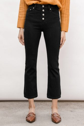 Lulu's High Rise Cropped Kick Flare Jeans
