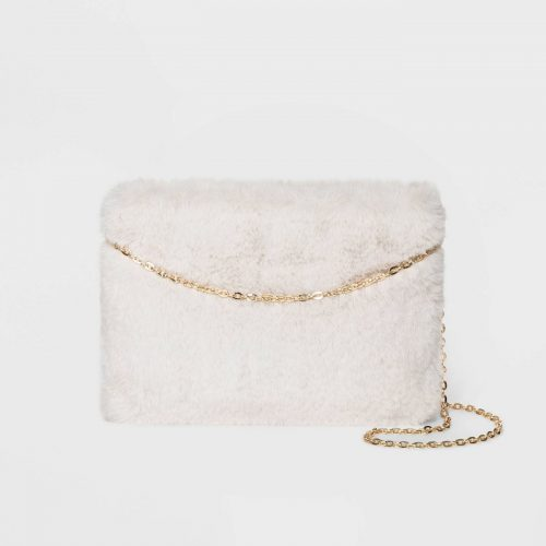 New years eve fashion: Target Faux Fur Zip Top Clutch Bag