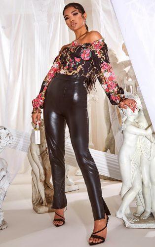 Pretty Little Thing Faux Leather Split Hem Skinny Pants