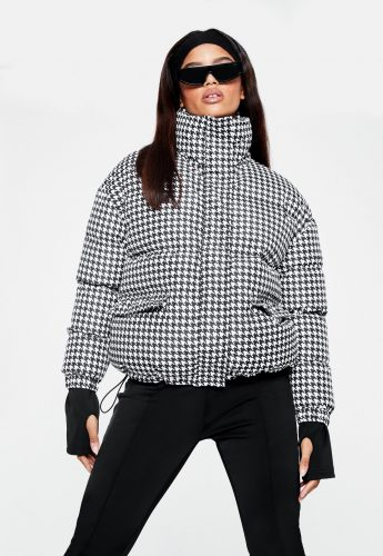 Missguided Houndstooth Puffer Jacket