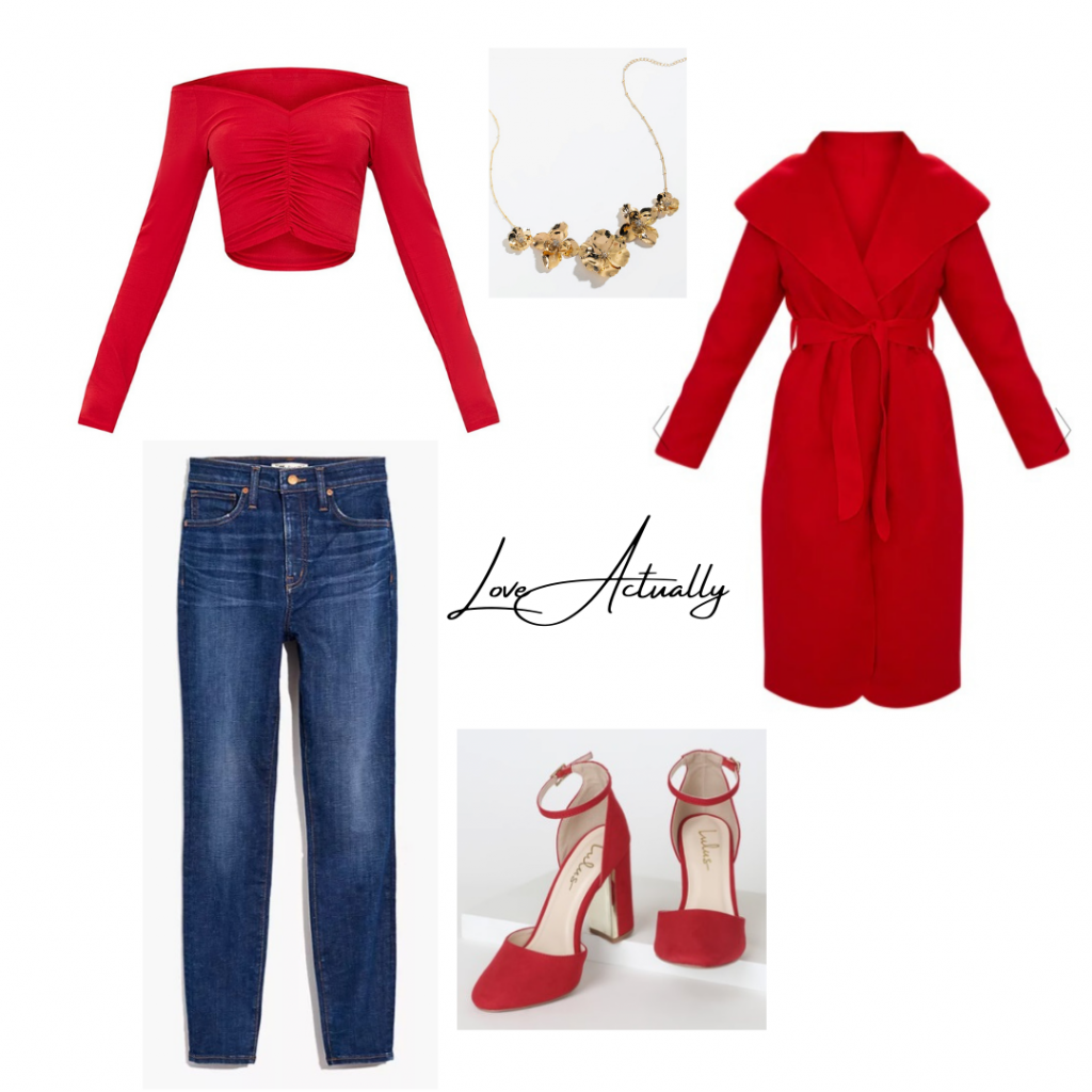 Christmas Movie Outfit based on Natalie from Love Actually: red ruched crop top with blue jeans red oversized coat red heels and gold flower statement necklace