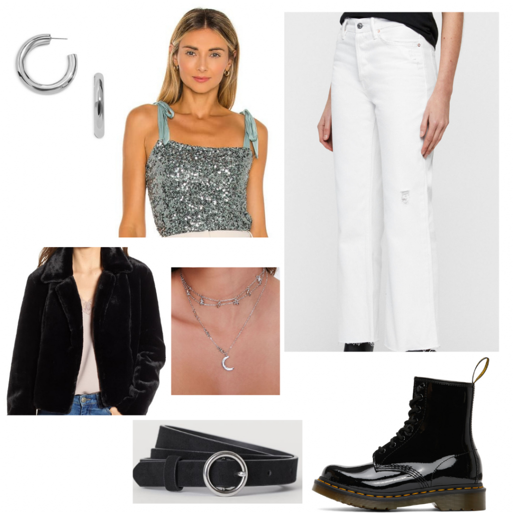 Casual New Year's Eve outfit with white pants, glitter crop top, fuzzy jacket, patent Doc Martens, layered jewelry