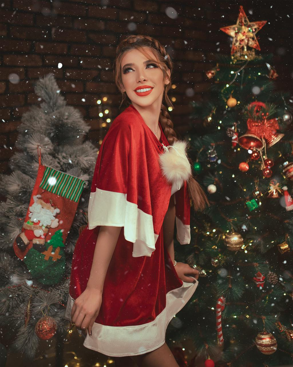 Woman wearing very festive Santa-themed outfit, holiday style tips