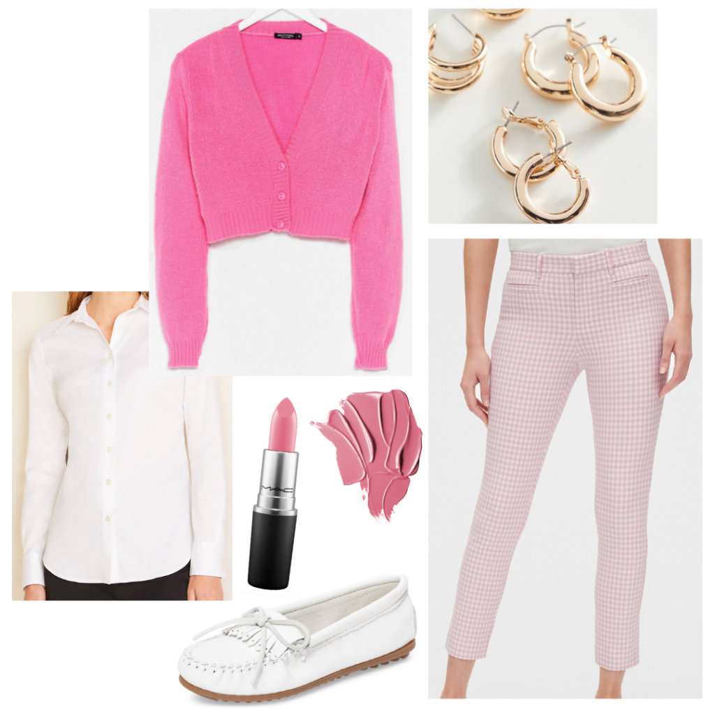 Princess Diana outfit: Pink rollerblading outfit inspired by Diana's style on The Crown with pink gingham pants, white loafers, pink cardigan sweater, white button-down shirt, pink lipstick, gold earrings