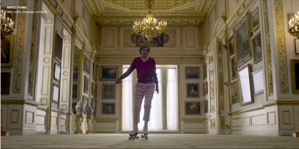 Screenshot of Princess Diana in The Crown rollerblading through Buckingham Palace in a pink outfit