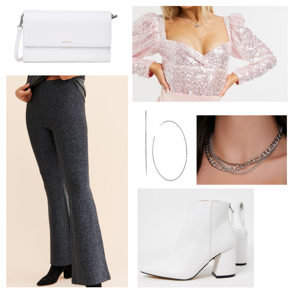 Casual chic new years eve outfit: Wide leg grey pants, white boots, sequin puff sleeve top, white crossbody bag