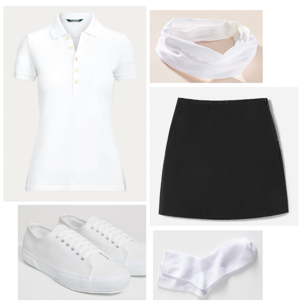 The Queens Gambit fashion: Outfit inspired by Beth's racketball/squash look with white polo shirt, black skirt, white headband, tennis shoes