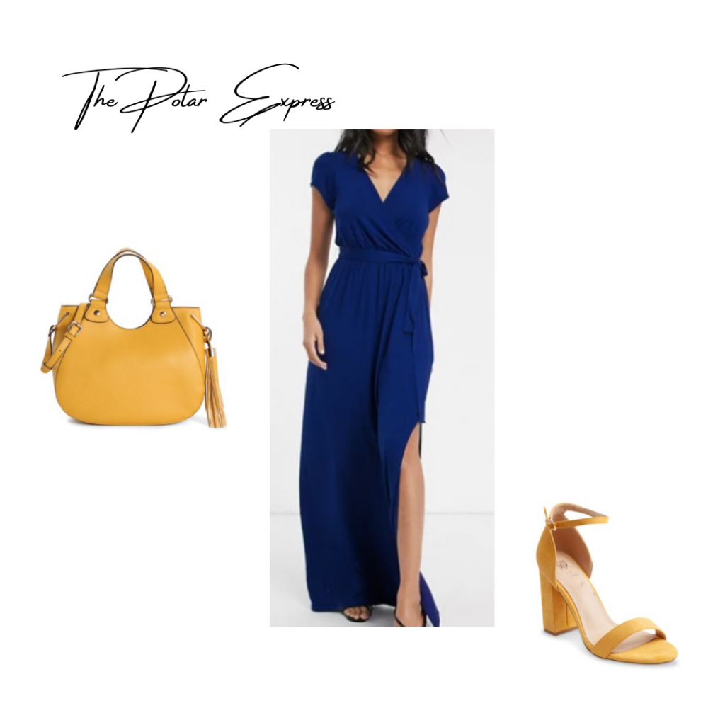 Christmas Movie Outfit based on Polar Express: blue wrap dress yellow handbag and heels