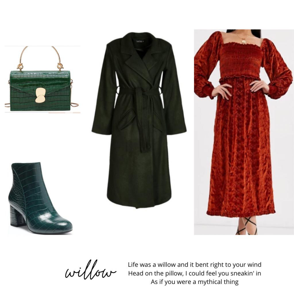 Taylor Swift evermore fashion guide: Red velvet dress, black trench, green accessories