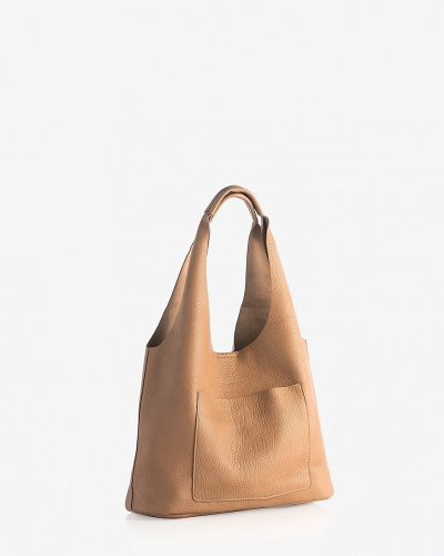 nude leather tote with large side pocket from Express