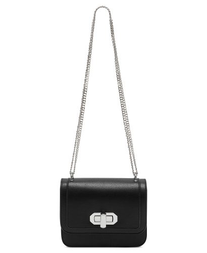 black crossbody purse with silver chain strap from Macy's