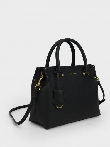 black structured purse with gold details from Charles & Keith