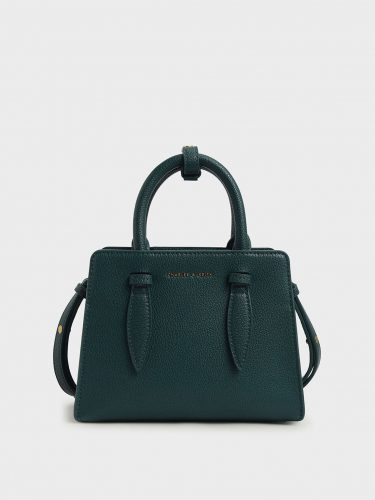 Classic bag: olive green structured bag with silver chain strap from Charles & Keith