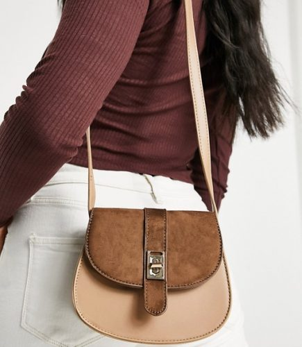 Classic bag: two-tone brown saddle bag with silver clasp from ASOS