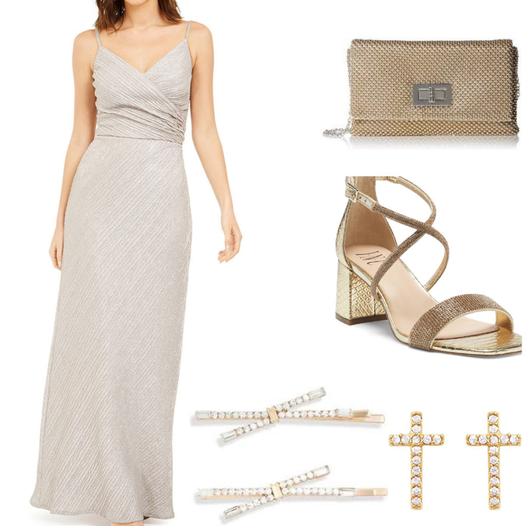 A Daphne Bridgerton outfit set with gown, shoes, gold purse, cross earrings and pearl hair clips.