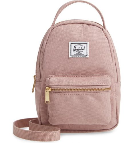 A small pink backpack .