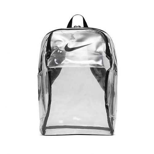 A clear backpack from Nike.
