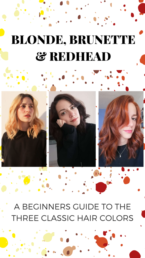 Blonde vs brunette vs redhead: Which hair color should you choose? Photo of the author with all three hair colors