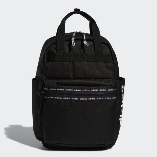 A black backpack with the words 'adidas' in grey.
