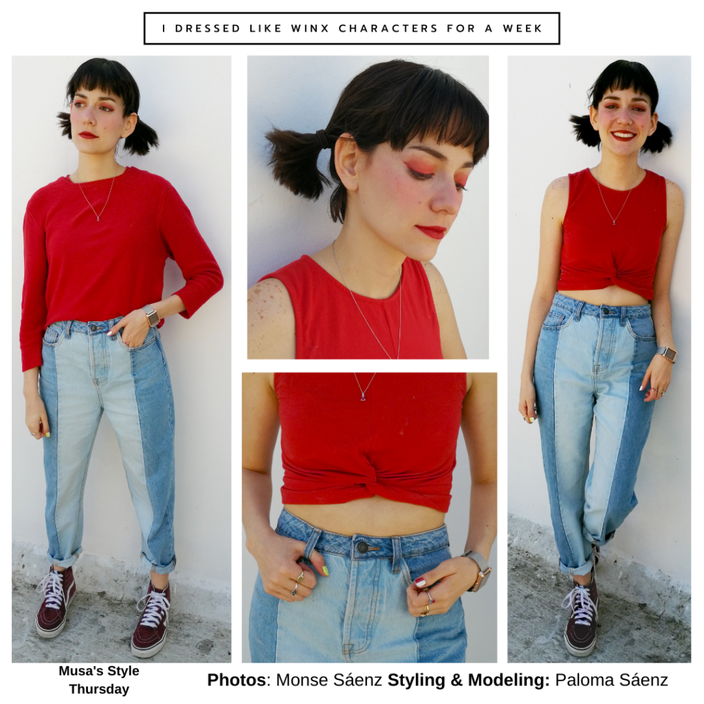 Winx Club fashion - Outfit inspired by Musa from Winx Club with red top, colorblock jeans, Vans