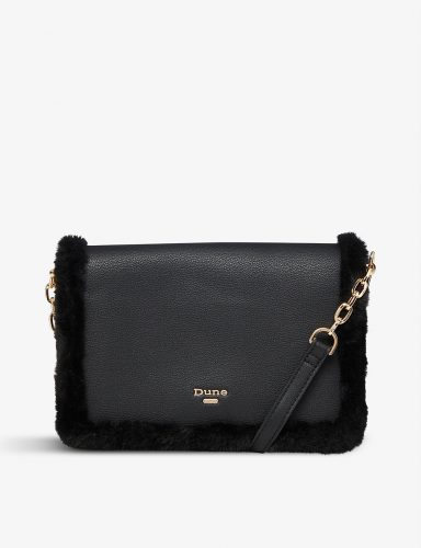 Classic bag: black crossbody bag with furry detail from Selfridges