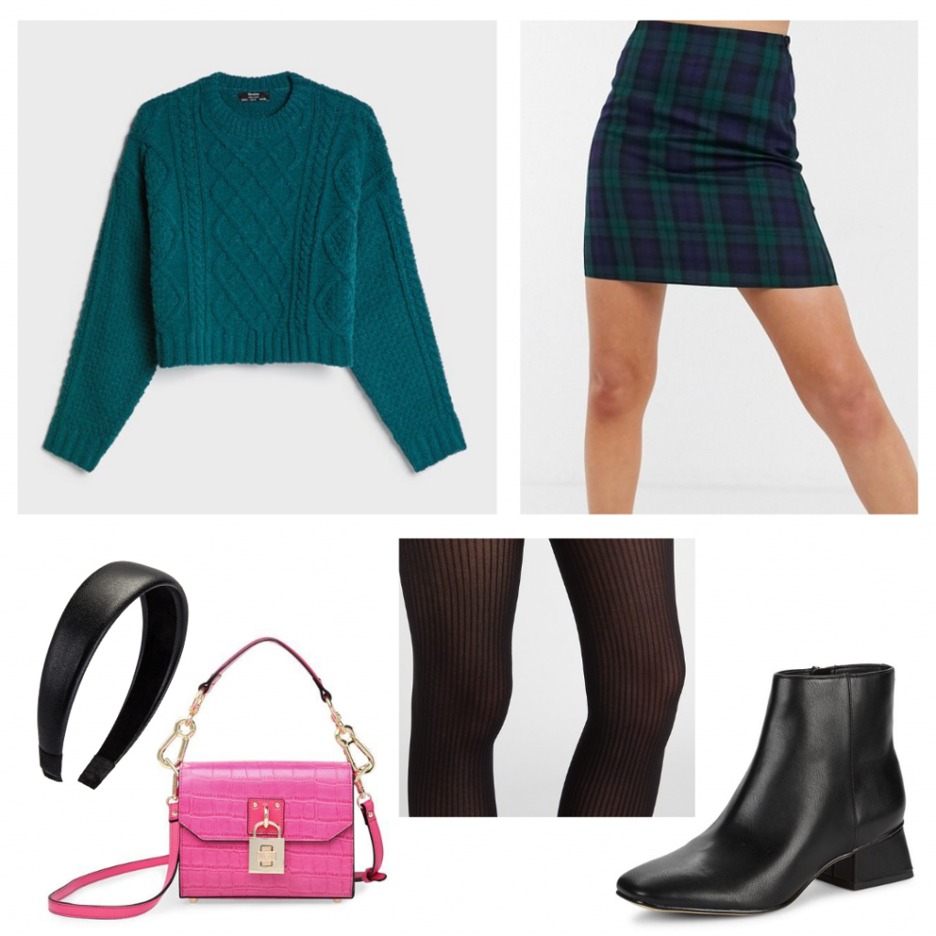 Outfit Guide: teal cableknit sweater, green and blue plaid miniskirt, black ribbed tights, black booties, thick black headband, and tiny pink purse with gold details