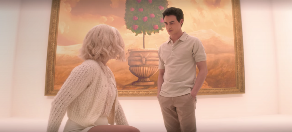 Screenshot from episode 8 of The Chilling Adventures of Sabrina Spellman, Season 4 - Sabrina in museum wearing all white