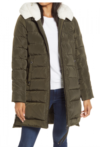 Nordstrom Faux Shearling Hood Puffer Coat