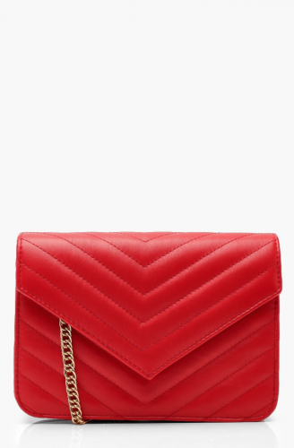 Classic bag: red chevron-stitched small crossbody purse with gold chain strap from Boohoo