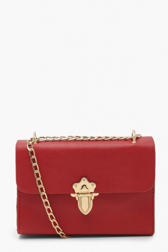 small red crossbody purse with gold clasp and chain strap from Boohoo
