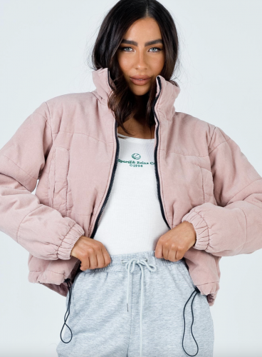 Princess Polly Quilted Baby Pink Puffer