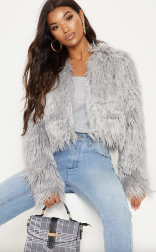 Pretty Little Thing Fur Shaggy Cropped Jacket