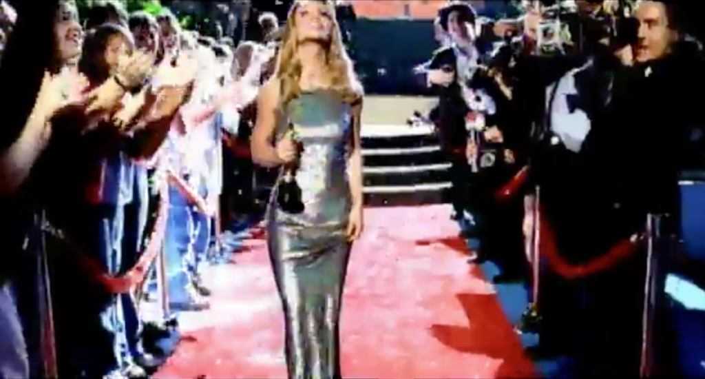 Britney Spears in the lucky music video - silver dress