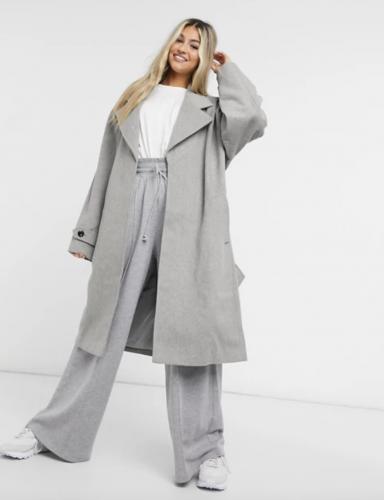 Asos Longline Grey Overcoat
