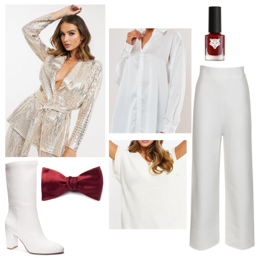 Harry Styles outfit inspired by Treat People with Kindness music video: White outfit with metallic jacket and red bow tie